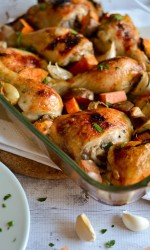 Honey Roasted Garlic Chicken with Sweet Potatoes